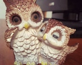Cute Vintage Collectible Mother and Baby Owl Figurine SALE (Order for Krista)