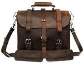 ITALIAN LEATHER Messenger Bag Travel Bag Laptop Bag Vintaged Brown Leather