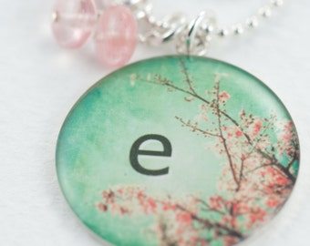 Pink Blossom Name Necklace | Cherry Blossom Green Spring Pendant | Personalized