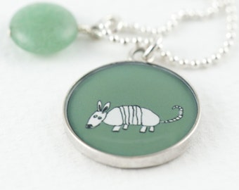 Armadillo Necklace   Olive Green Armadillo Pendant   Sterling Silver Aardvark Necklace