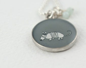 Armadillo Necklace   Armadillo Drawing Pendant   Grey Necklace   Sterling Aardvark Necklace