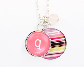 Initial Necklace | Personalized Initial Pendant | Pink Striped Pendant | Sterling Initial & Striped Necklace