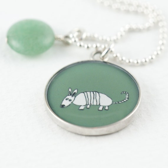 Armadillo Necklace | Olive Green Armadillo Pendant | Sterling Silver Aardvark Necklace