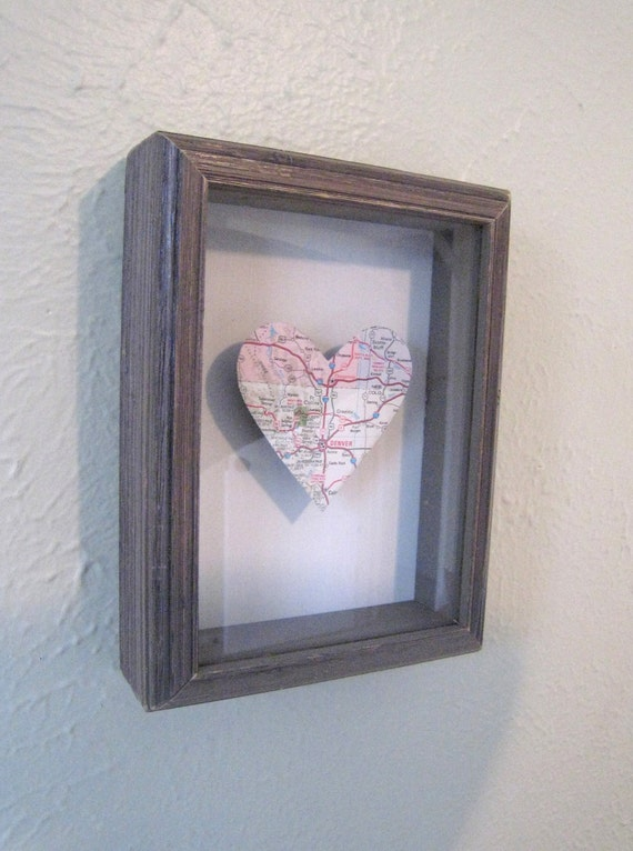 Distressed Heart Colorado Map Shadow Box