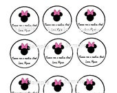 Minnie Mouse Party Favors Tags- Pink- Printable