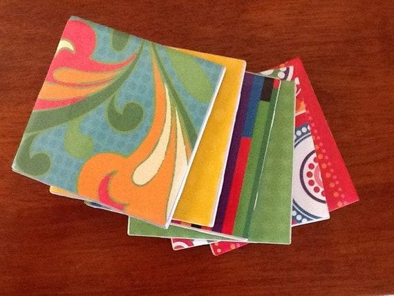 Set of 6 colorful tile coasters