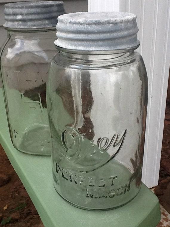 Set of 2 Quart Mason jars with original zinc lids. One Quart Drey Perfect Mason, one Atlas Mason