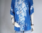 Women top pleated blue hippie blouse Gypsy Bohemian size OSFA S or M or L or XL small medium large extra