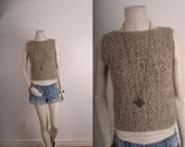 Vintage blouse top knitted women grey silver size S small