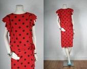 SALE Vintage Dress Red black polka dot drop waist womens size S