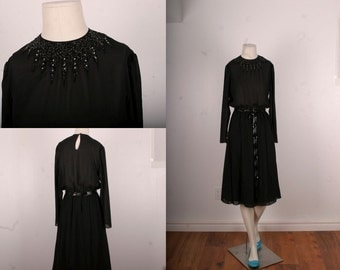 Black vintage dress sequin dress mad men fifties cocktail dress size S small