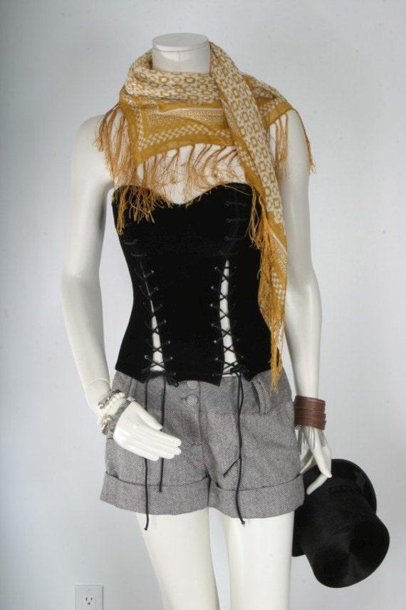 Black bustier corset velvet with tie detailing womens size M medium