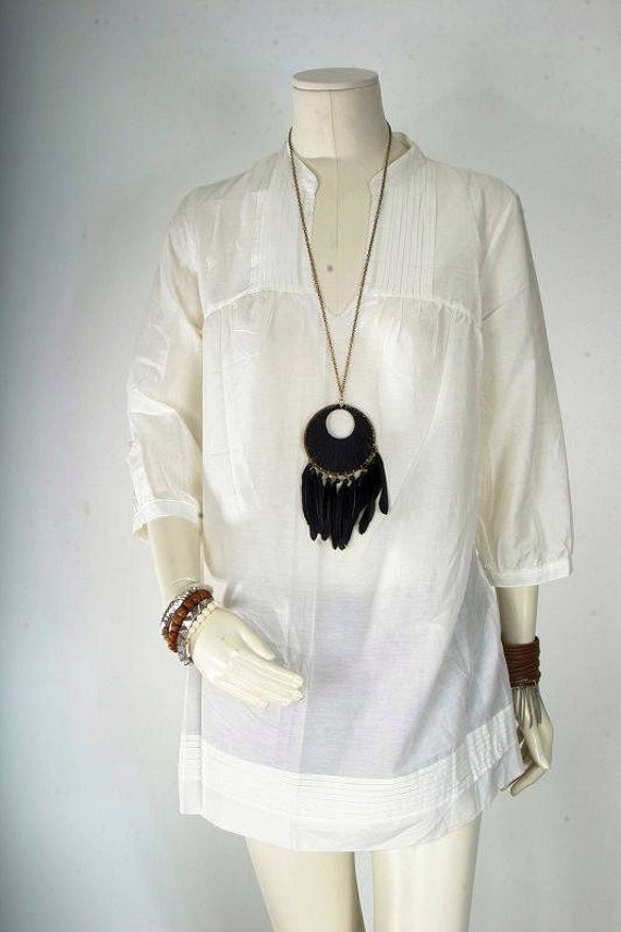 Reserved for Megan Shankara - Tunic dress women white cream top blouse cream summer size L large