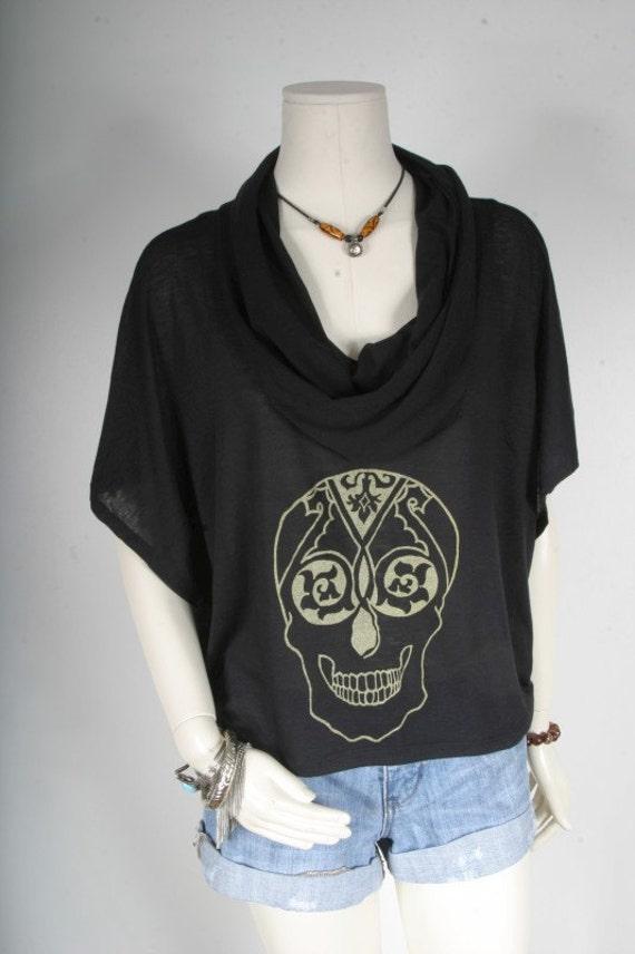 Women Tshirt cowl skull black screen printed Original illustration by Lynda D'Souza Hi Low blouse top size M medium