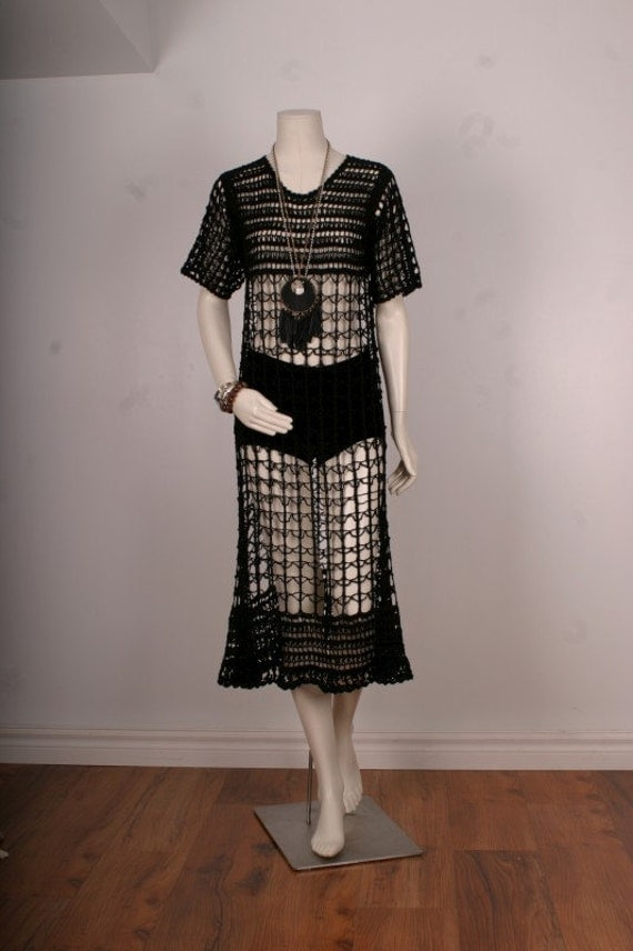 Vintage crochet dress black knitted women size S or M small medium