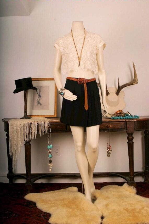 Black pleated mini skirt short black skirt wrap mini women size S small