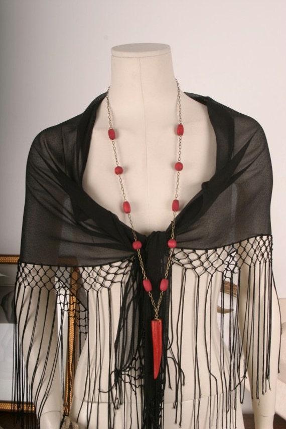 Crochet shawl piano scarf black embroidery roses tassles fringe women OSFA