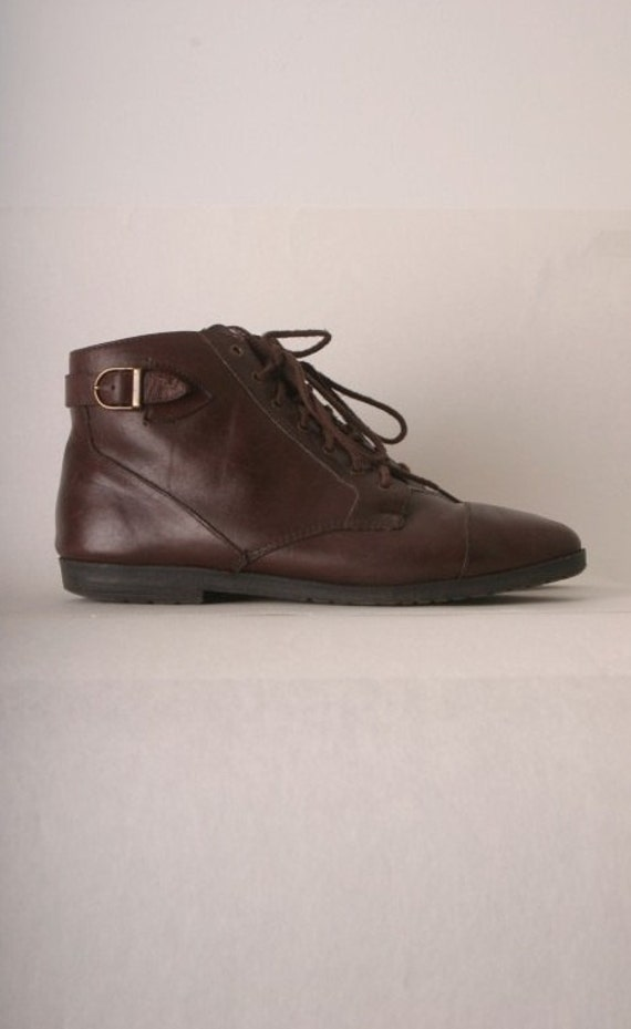 Vintage lace up ankle boots leather booties dark brown womens size 8.5M Oxford