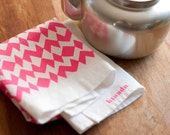 Linen Tea Towel - Neon Pink Geometric