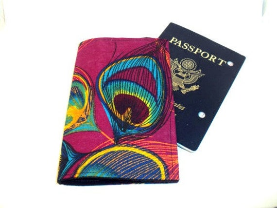 Peacock Passport Case pink peacock passport cover
