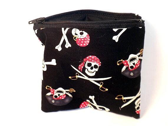 Pirate change purse black pirate zipper pouch skull