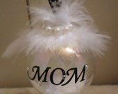 Mom In Memory Bulb Ornament with Angel Wings