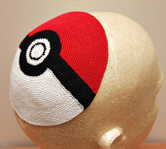Crochet Patterns For Yarmulke : Pokemon Pokeball Crocheted Kippah / Yarmulke