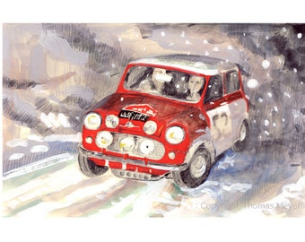 Mini Cooper Print, '1964 Montecarlo Rallye, Mini 52', Fine Art Print, Automobile Art- Mini Cooper Art- Vintage Automobile- Race Car
