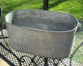 Wonderful OLD Oval Galvanized Metal Container with Metal Handles and Raised Design