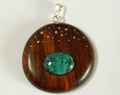 Ironwood and turquoise and silver round pendant