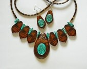 Ironwood and Turquoise necklace and Earring set with silver inlay