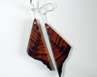 Rustic Stretched Triangle Ironwood earrings