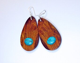 OOAK Unique Drop-shaped Ironwood and Turquoise Earrings