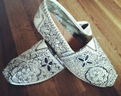 Custom hand-Painted Toms in Black on Tan Canvas