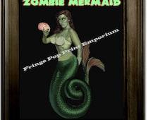 Zombie Mermaid Pin Up Art Print 8 x 10 - Pinup Psychobilly Goth Horror
