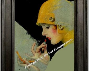 Art Deco Flapper Art Print 8 x 10 - Classic Putting on Lipstick - 1920s