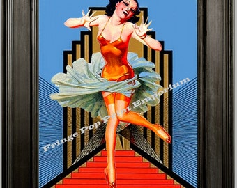 Flapper Art Print 8 x 10 - Woman on Stairs -1920s Art Deco