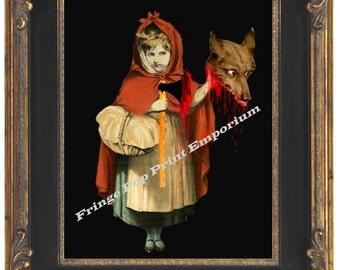 Little Red Riding Hood Art Print 8 x 10 - Gets Revenge on Big Bad Wolf