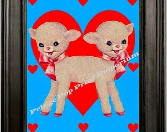 Siamese Twins Lamb Art Print 8 x 10 - Whimsical Kawaii Hearts Sideshow