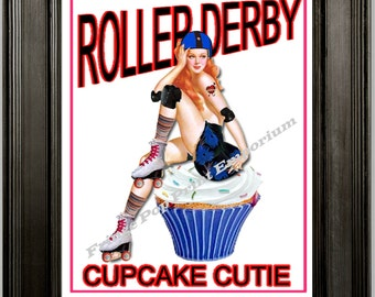 Roller Derby Art Print 8 x 10 - Pin Up Gal Cupcake Cutie