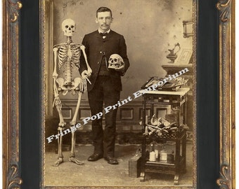 Victorian Medical Doctor With Skull & Skeleton Art Print 8 x 10 from Cabinet Card
