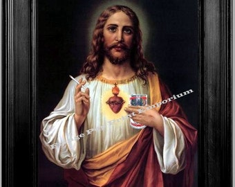 Jesus Parody Slacker Art Print 8 x 10 - Smoking & Drinking Parody