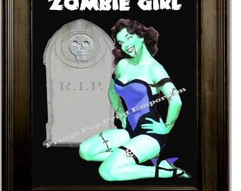 Zombie Girl Pin Up Art Print 8 x 10 - Pinup Goth Horror Psychobilly