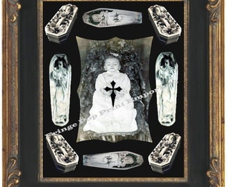 Victorian Post Mortem Child Art Print 8 x 10 Memento Mori Collage