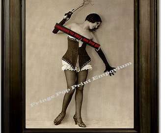 Flapper With Whip in Corset Art Print 8 x 10 - BDSM Mature Art Deco