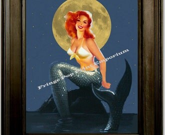 Mermaid Art Print 8 x 10 - Pin Up Girl in the Moonlight - Pinup Poster