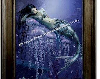 Mermaid Art Print 8 x 10 - Contemplative Siren Under the Sea - Blue