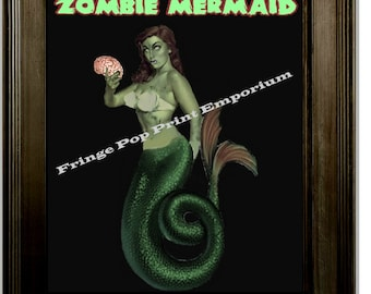 Zombie Mermaid Pin Up Art Print 8 x 10 - Pinup Psychobilly Goth Horror