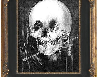 Skull Illusion Art Print 8 x 10 Victorian -  Fine Art All is Vanity Skull or Woman at Vanity