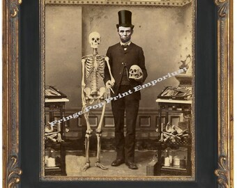 Victorian Abraham Lincoln With Skeleton Art Print 8 x 10 - Cabinet Card Style